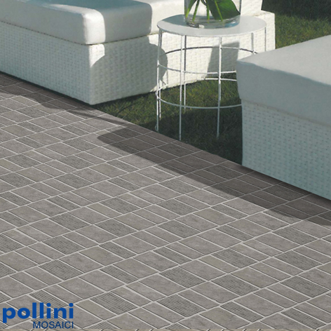Ceramic mosaic in stone effect for the floor of the garden of a house by Pollini Mosaici