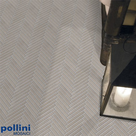 Ceramic mosaic in cement effect for the floor and the wall of a living room or bathroom of the house by Pollini Mosaici